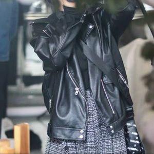 Summer Sale PU leather black motorcycle jacket